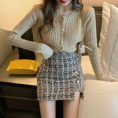 Sitron - Buttoned Knit Top / Plaid Mini Woolen Skirt