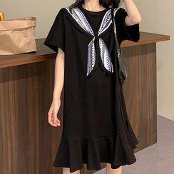 Omolon - Mock Two-Piece Elbow-Sleeve Midi A-Line Dress / Elbow-Sleeve T-Shirt