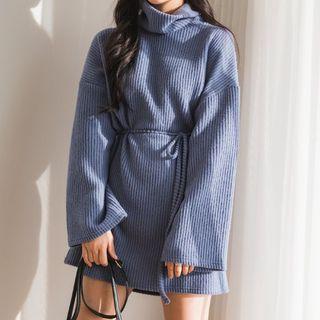 Envy Look - Funnel Neck Rib-Knit Mini Dress with Sash