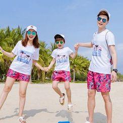 NOHEA - Family Matching Short-Sleeve Printed T-Shirt / Print Shorts