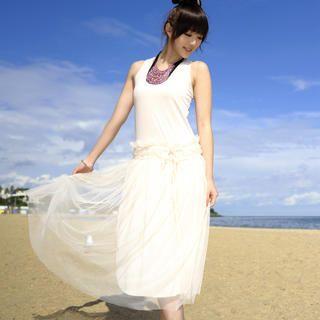 59 Seconds - Dropwaist Tulle Sleeveless Midi Dress