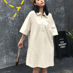 Maisee - Pocket Detail Elbow-Sleeve Collared Dress