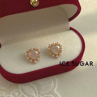 ICE SUGAR - Rhinestone Faux Pearl Heart Ear Stud