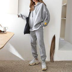 PPGIRL - Set: Hooded Layered Sweatshirt + Sweat Pants