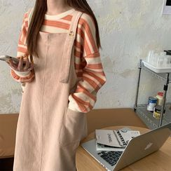 TriStyle - Striped Sweatshirt / Overall Dress
