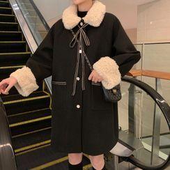 Rorah(ロラ) - Fleece Collar Button-Up Long Coat