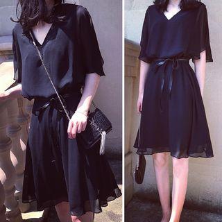 YOSH - Short-Sleeve A-Line Chiffon Dress