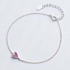 A'ROCH - 925 Sterling Silver Rhinestone Heart Bracelet