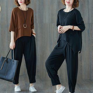 RAIN DEER - Set : Plain Asymmetrical Semi Sleeve T Shirt + Cropped Pants