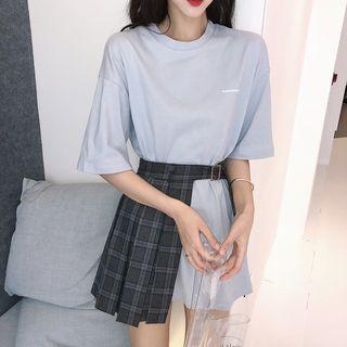LINSI - 五分袖レタリングロングTシャツ/チェック柄プリーツミニスカート
