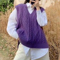 Miaow - 纯色衬衫 / V领针织马甲