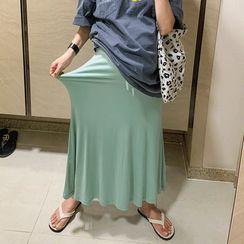 DISCOSALON - Drawstring-Waist Maxi Flare Skirt