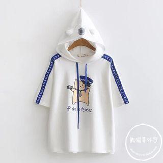 PANDAGO - Cat Print Hooded Short-Sleeve T-Shirt