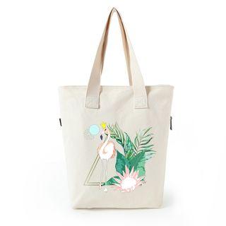 Lozynn - Flamingo Print Canvas Shopper Bag