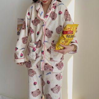 Serendipitous - Set: Long-Sleeve Bear Print Fluffy Pajama Top + Pants
