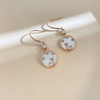 Infini - Shell Alloy Cat Dangle Earring