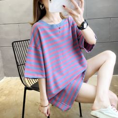 Jewie - Elbow-Sleeve Striped T-Shirt