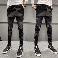 Bay Go Mall - Stripe Panel Harem Pants