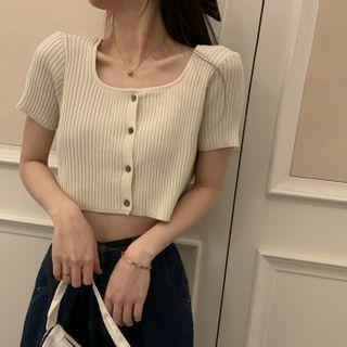 Shinsei - Short-Sleeve Button-Up Knit Top