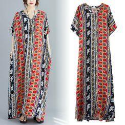 Ebbie - Patterned Short-Sleeve Maxi A-Line Dress
