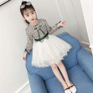 Qin Qin - 小童長袖格子網紗A字連衣裙