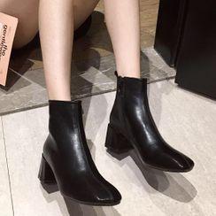 Chinchilla - Block Heel Short Boots