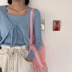 ZENME - 罗纹针织吊带背心 / 前结带开衫
