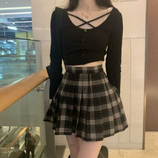 Avox - Long-Sleeve Plain Cross-Strap Top / High-Waist Plaid Pleated Mini Skirt