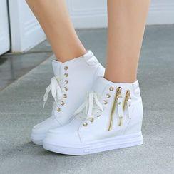 Aneka - Lace Up Hidden Wedge Platform Shoes