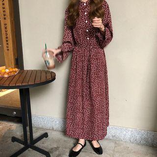 monroll - Long-Sleeve Dotted Maxi Chiffon Dress