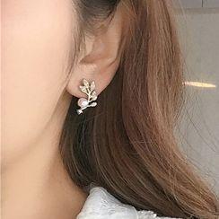 CARNIUS - 仿珍珠水鑽樹葉耳環