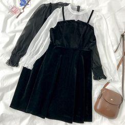 HXT - Mock Two-Piece Long-Sleeve Mini A-Line Velvet Dress