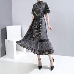 Sointo - Short-Sleeve Multi-Patterned Midi A-Line Dress