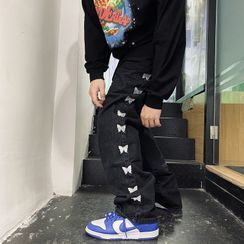 Oppa homme - 蝴蝶刺繡直身牛仔褲