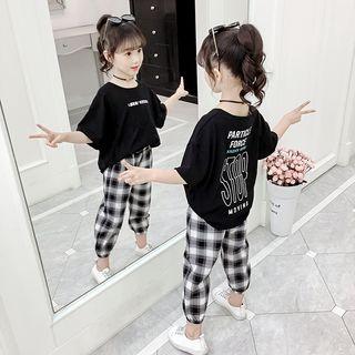 Famula - Kids Set: Lettering Short-Sleeve T-Shirt + Plaid Straight-Cut Pants