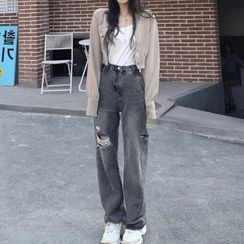 Shinobu - Distressed Wide Leg Jeans
