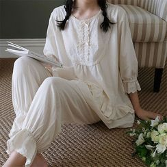 Meredith - Pajama Set: Eyelet Trim 3/4-Sleeve Top + Lounge Pants