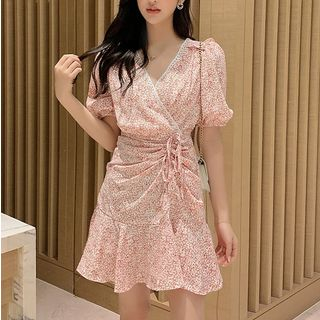 Petit Lace - Short-Sleeve Floral Mini Chiffon Dress