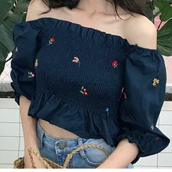Shinsei - Off-Shoulder Embroidered Top