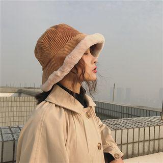 YYG - Faux Fur Trim Corduroy Bucket Hat