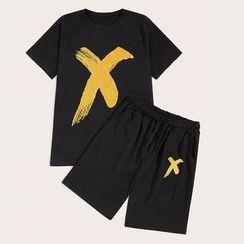 Ferdan - Set: Printed Short-Sleeve T-Shirt + Shorts