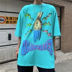 Shineon Studio - Cartoon Print Elbow-Sleeve T-Shirt