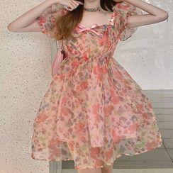 Aurora - 泡泡袖花朵印花迷你A字連衣裙