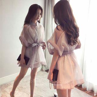 Lumierii - Set: 3/4-Sleeve Mini Shirt Dress + Slip Dress