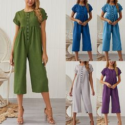 DELIYA - Buttoned Short-Sleeve Cropped Jumpsuit