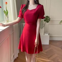 MyFiona - Sweetheart-Neck Frill-Cuff Dress