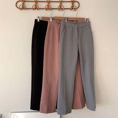 icecream12 - Fleece-Lined Straight-Cut Dress Pants in 2 Lengths