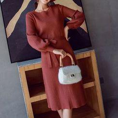 Yilda - Long-Sleeve Midi A-Line Knit Dress