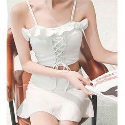 Jumei - 套装: 荷叶系带比基尼泳衣上衣 + 泳裙