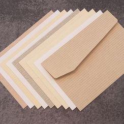 Full House - iplaybox-套裝: 純色暗紋紙信封 + 信紙